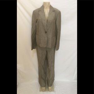 LAFAYETTE 148 Sz 12 Brown Pinstripe 2pc Pants Suit